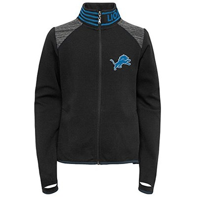 Outerstuff NFL Detroit Lions Youth Boys Aviator Full Zip Jacket Black, Youth Large(14)