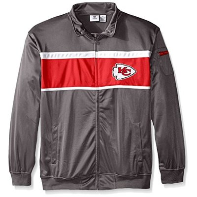 Majestic Kansas City Chiefs NFL Mens 2 Sided Tricot Track Jacket Charcoal Big & Tall Sizes (MT)