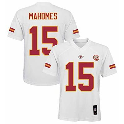 Outerstuff Patrick Mahomes Kansas City Chiefs NFL Boys Youth 8-20 White Road Mid-Tier Jersey (Youth Medium 10-12)