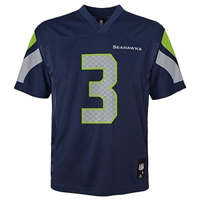 NFL Youth Boys 8-20 Russell Wilson Seattle Seahawks Boys -Player Name Jersey, Dark Navy, S(8)