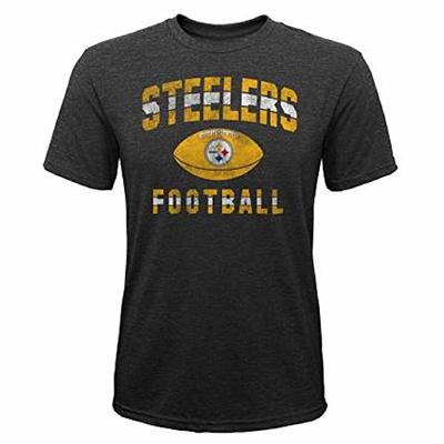 Pittsburgh Steelers NFL Boys Youth 8-20 Gray Tri-Blend Big Game Short Sleeve T-Shirt (Youth Large 14-16)