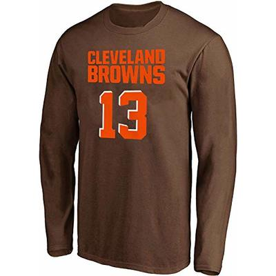 NFL Youth Team Color Mainliner Player Name and Number Long Sleeve Jersey T-Shirt (Large 14/16, Odell Beckham Jr Cleveland Browns Brown)