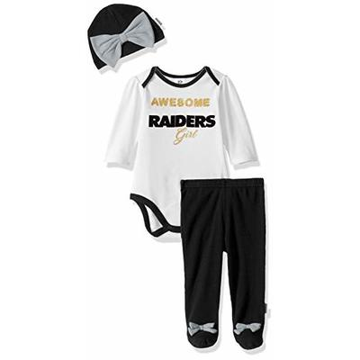 NFL Oakland Raiders Bodysuit Footed Pant And Cap, 6-9M, black/silver
