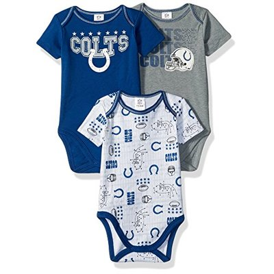 NFL Indianapolis Colts Unisex-Baby 3-Pack Short Sleeve Bodysuits, Blue, 0-3 Months (1)