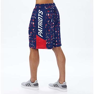 NFL New England Patriots Men's Team Color Grid Shorts, Navy/Red, Large