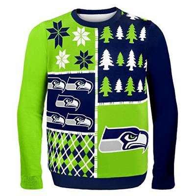 NFL Seattle Seahawks BUSY BLOCK Ugly Sweater, Large