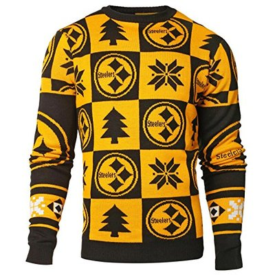 NFL Pittsburgh Steelers Men's 2016 Patches Ugly Crew Neck Sweater, Medium, Team Color