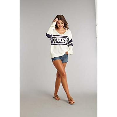NFL Dallas Cowboys Lauren James Womens Stripe Sweater, WHT/NVY, Small