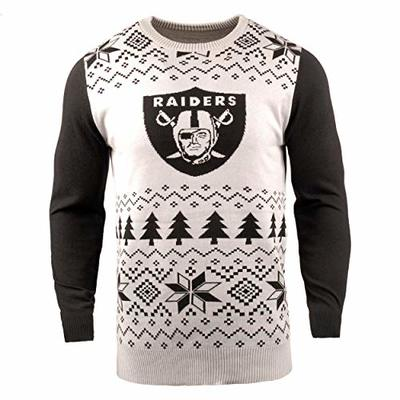 NFL Oakland Raiders Two-Tone Cotton Ugly Sweatertwo-Tone Cotton Ugly Sweater, White, Medium