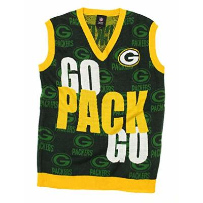 FOCO Green Bay Packers NFL Men's V-Neck Knit Sweater Vest (XX-Large)
