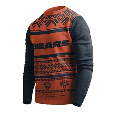 Klew NFL Chicago Bears Two-Tone Cotton Ugly Sweater, Orange, Medium