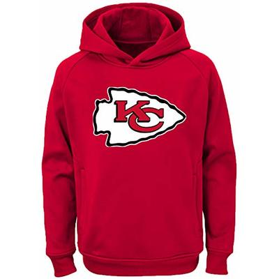 NFL Youth Team Color Performance Primary Logo Pullover Sweatshirt Hoodie (Large 14/16, Kansas City Chiefs)