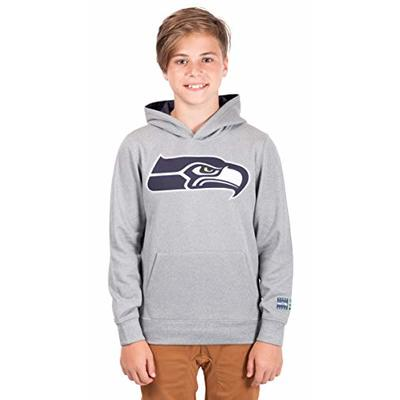 Ultra Game NFL Seattle Seahawks Youth Extra Soft Poly Dry Fleece Pullover , Heather Gray, Medium