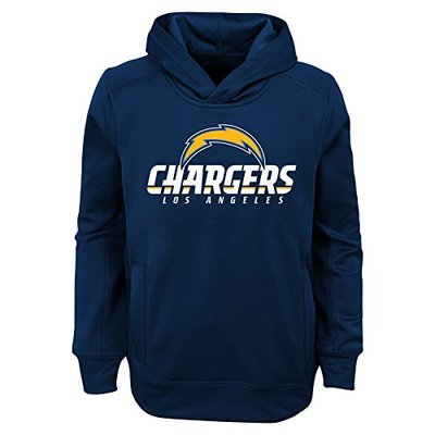 NFL LA Chargers Youth Boys Goal Line Stand Performance Fleece Hoodie Navy, Youth Medium(10-12)