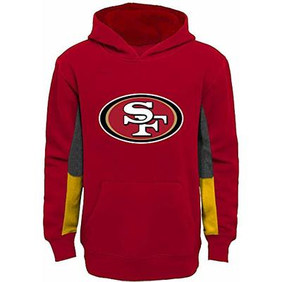 Outerstuff NFL Youth 8-20 Team Color Alternate Fleece Primary Logo Stated Pullover Sweatshirt Hoodie (San Francisco 49ers Red, 10-12)