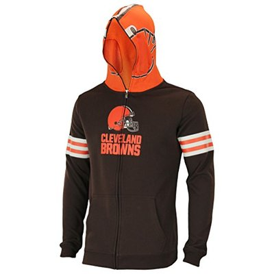 Outerstuff NFL Big Boys Youth (8-18) Full Zip Helmet Masked Hoodie, Cleveland Browns, Small (8)