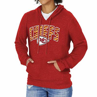 Zubaz NFL Kansas City Chiefs Women's Soft Hoodie with Vertical Graphic, Red, X-Large