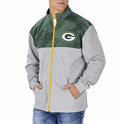 Zubaz Officially Licensed NFL Men's Green Bay Packers Heather Gray Full Zip Track Jacket with Tonal Green Static Yoke, Size XX-Large