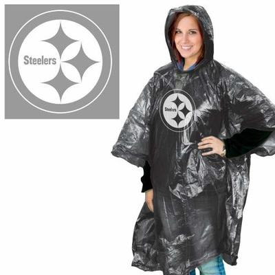 WinCraft NFL Pittsburgh Steelers Rain Poncho, Team Colors, One Size