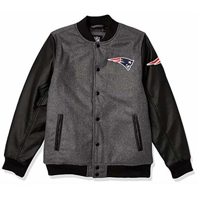 Ultra Game NFL New England Patriots Youth Classic Baseball Jacket, Heather Charcoal, Large