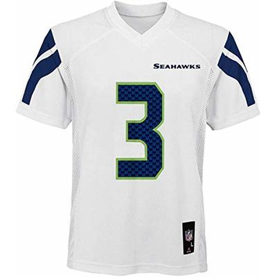 Russell Wilson Seattle Seahawks NFL Boys Youth 8-20 White Road Mid-Tier Jersey (Youth Medium 10-12)