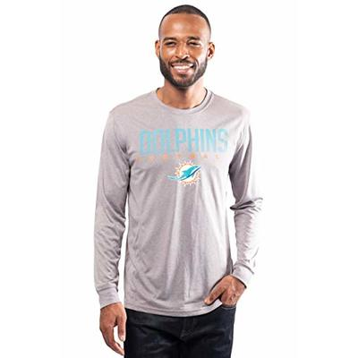 NFL Ultra Game Miami Dolphins Active Long Sleeve Tee Shirt, Large, Heather Grey