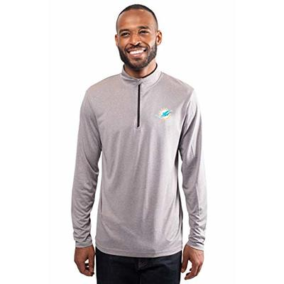 Ultra Game Mens NFL Moisture Wicking Soft Quarter Zip Long Sleeve Tee Shirt, Miami Dolphins, Heather Gray, Medium