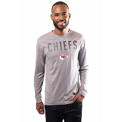 NFL Ultra Game Kansas City Chiefs Active Long Sleeve Tee Shirt, Medium, Heather Grey