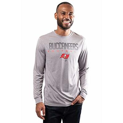 NFL Ultra Game Tampa Bay Buccaneers Active Long Sleeve Tee Shirt, Large, Heather Grey