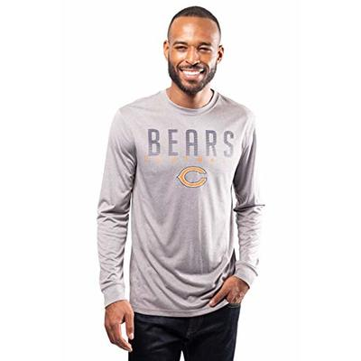 NFL Ultra Game Chicago Bears Active Long Sleeve Tee Shirt, Large, Heather Grey