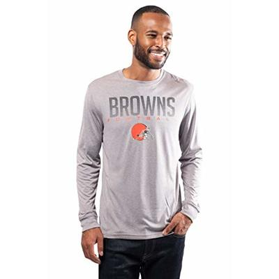NFL Ultra Game Cleveland Browns Active Long Sleeve Tee Shirt, Large, Heather Grey