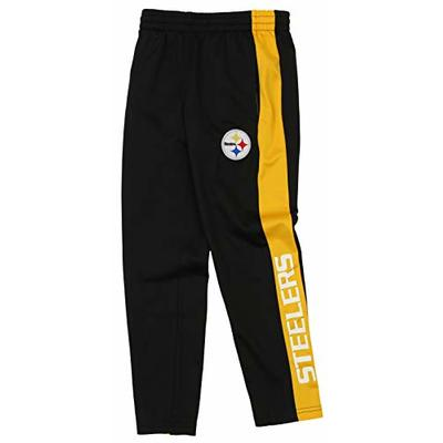 Outerstuff NFL Youth Boys (8-20) Side Stripe Slim Fit Performance Pant, Pittsburgh Steelers Medium (10-12)