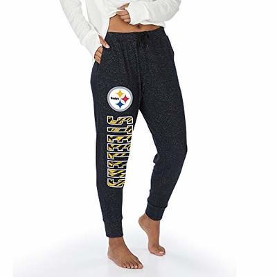 Zubaz NFL Pittsburgh Steelers Women's Soft Jogger with Vertical Graphic, Black, Large