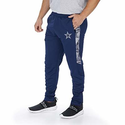 Zubaz NFL Dallas Cowboys Mens Track Pant with Static Half Side Panels, Solid Navy Blue, Large