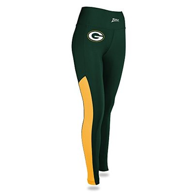NFL Zubaz Womens Green Bay Packers Solid Color Leggings, X-Small, Multi