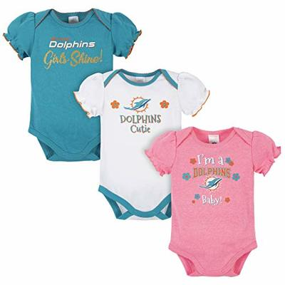 NFL Miami Dolphins 3 Pack Short Sleeve Bodysuit, White/Pink/Teal Miami Dolphins, 3-6 Months