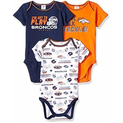 NFL Denver Broncos Baby-Boy 3 Pack Short Sleeve Variety Bodysuit, Team Color, 0-3 Months