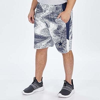 Zubaz NFL Dallas Cowboys Mens Static Short with Solid Side Panels, Navy Blue/Metallic Silver, X-Large