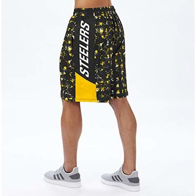 NFL Pittsburgh Steelers Men's Team Color Grid Shorts, Black/Gold, Small