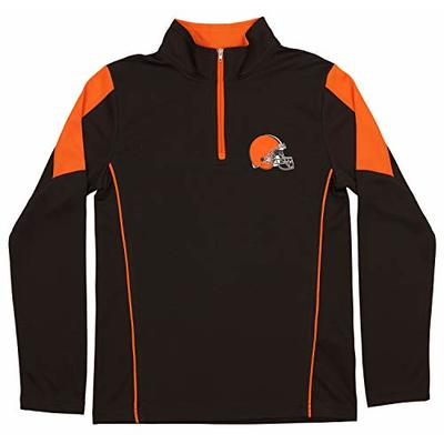NFL Youth Boys Cleveland Browns Mock 1/4 Zip Sweater, Large