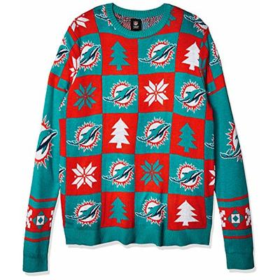 NFL MIAMI DOLPHINS PATCHES Ugly Sweater, X-Large