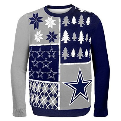 FOCO NFL Dallas Cowboys BUSY BLOCK Ugly Sweater, Large