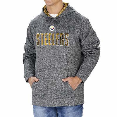 Zubaz NFL Pittsburgh Steelers Men's Hoodie with Team Color Static Hood Liner, Heather Gray, Large