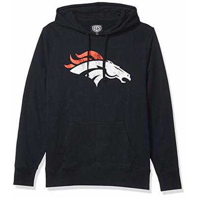 OTS NFL Denver Broncos Men's Fleece Hoodie, Distressed Logo, Large