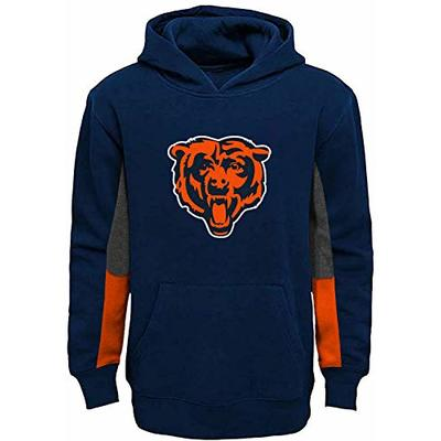 Outerstuff NFL Youth 8-20 Team Color Alternate Fleece Primary Logo Stated Pullover Sweatshirt Hoodie (Chicago Bears Navy, 10-12)