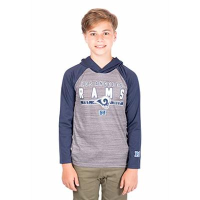 Ultra Game NFL Los Angeles Rams Youth Moisture Wicking Athletic Performance Pullover Sweatshirt Hoodie, Team Color, 10/12