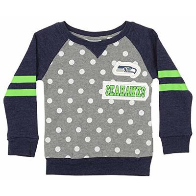 Outerstuff NFL Little Girls (4-7) Team Logo and Polka Dot Print Long Sleeve Crew, Seattle Seahawks Large (6X-7)