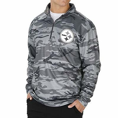 Zubaz NFL Pittsburgh Steelers Men's Lines Poly Fleece 1/4 Zip Jacket, Gray, X-Large