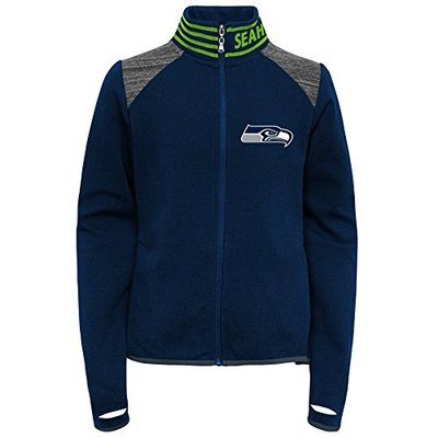 Outerstuff NFL Seattle Seahawks Youth Boys Aviator Full Zip Jacket Dark Navy, Youth Small(7-8)