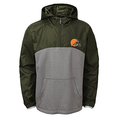 Outerstuff NFL Cleveland Browns Youth Boys 8-20″Convex 1/4 Zip Jacket, Medium (10-12), Brown Suede